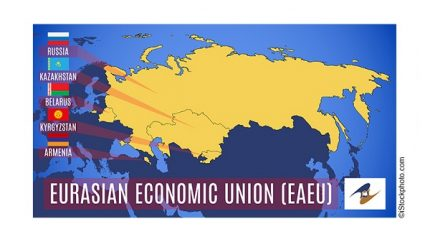 Vector. Schematic map of the member states of the Eurasian Economic Union (EAEU).  Russia, Belarus, Kazakhstan, Armenia and Kyrgyzstan flags.